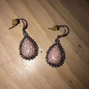 Women's pink and silver earrings